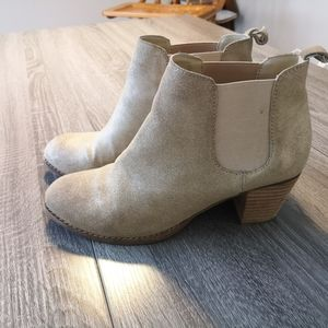 Gold ankle boots with wooden heel